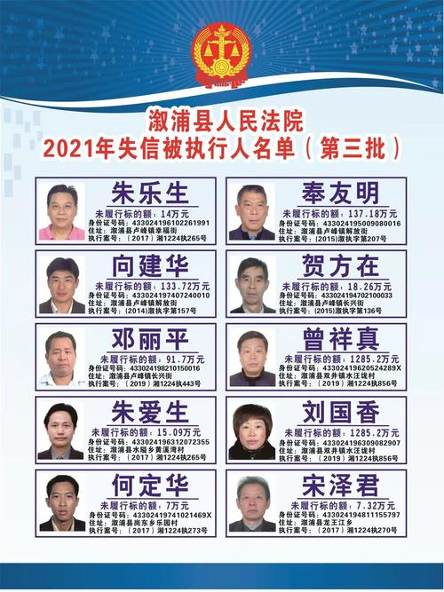 溆浦县人民法院失信被执行人信息曝光台