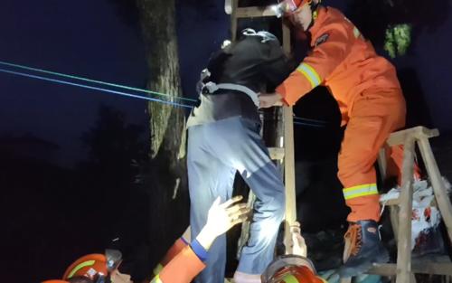八旬老人被困大树,消防与民警合力施救
